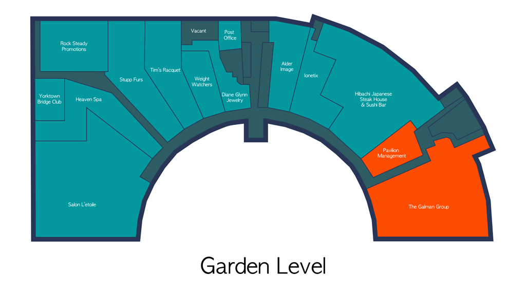 Pavilion Retail Space Floor Plan - Garden Level