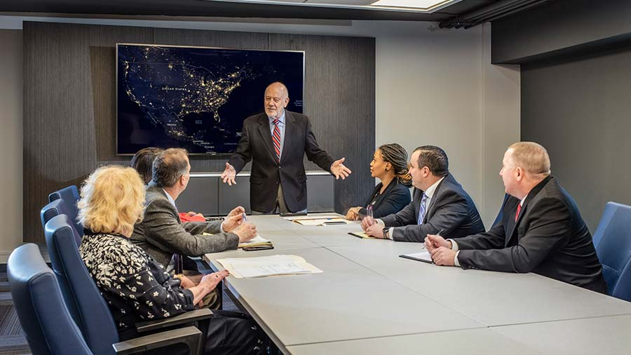 Company holding a meeting in the Pavilion Conference Room