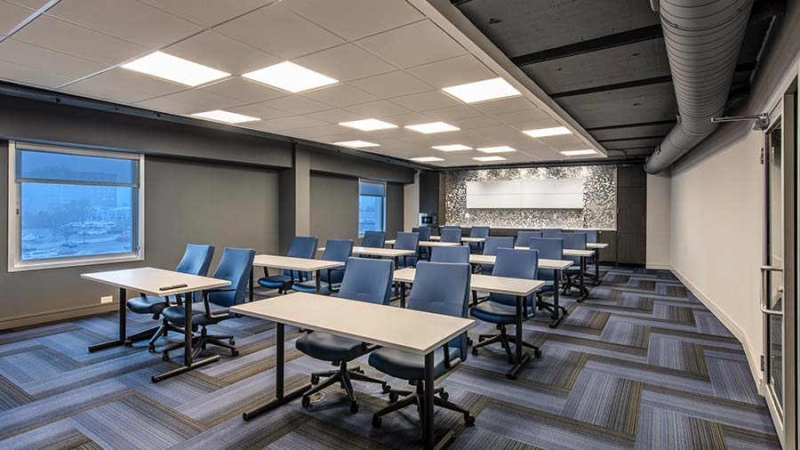 Pavilion conference room with desks and chairs
