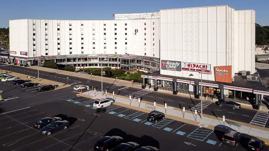 Pavilion building and front parking lot