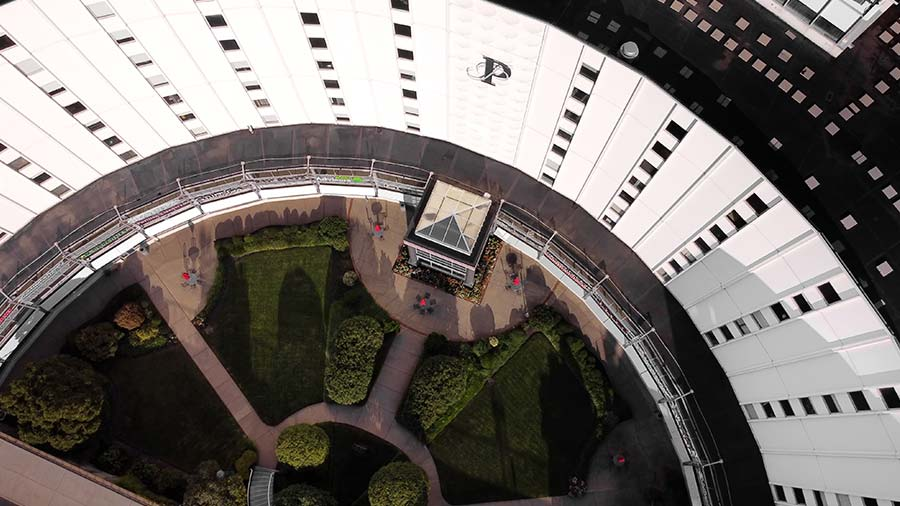 Aerial view of the Pavilion entrance from above